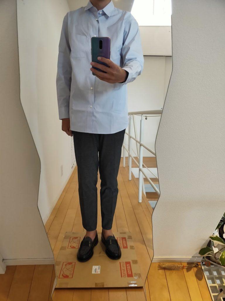 +JスーピマコットンレギュラーフィットシャツのMスラックス前
