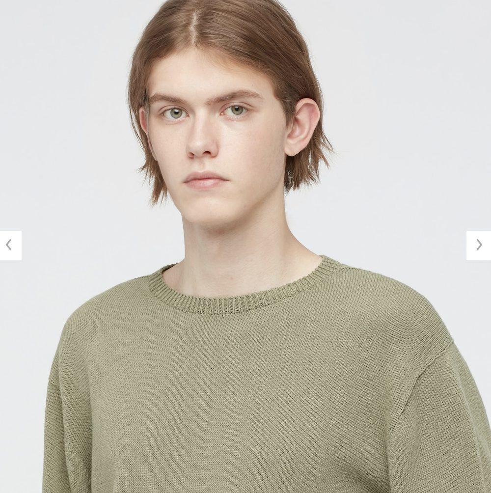 2021年春夏ユニクロU3Dクルーネックセーターのモデル2