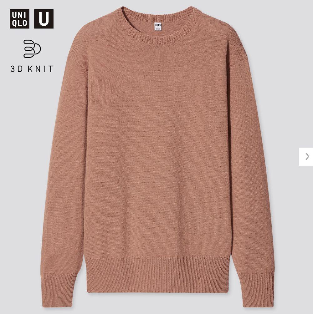 2021年春夏ユニクロU3Dクルーネックセーターのスタイル
