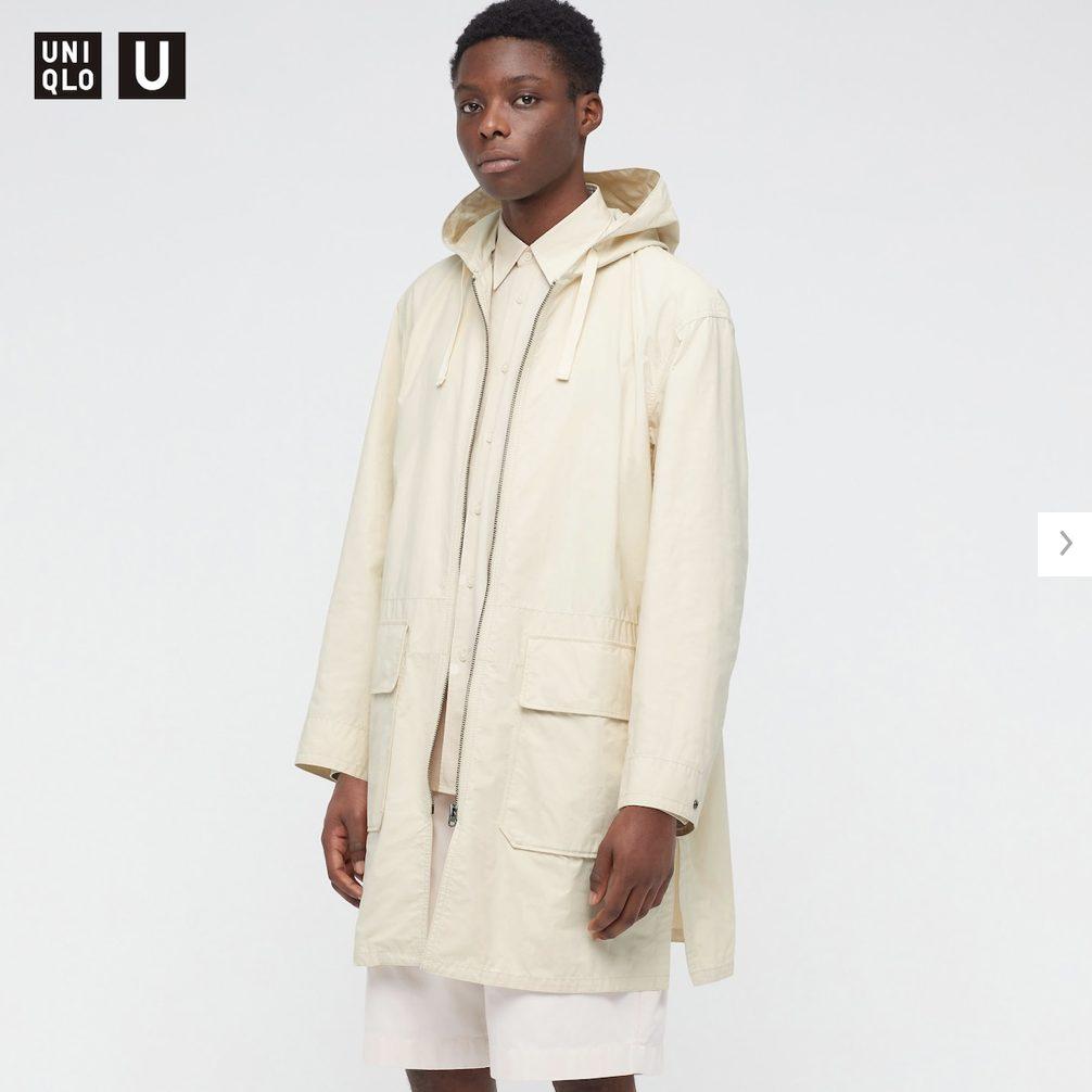 2021年春夏ユニクロUフーデッドコートのモデル1