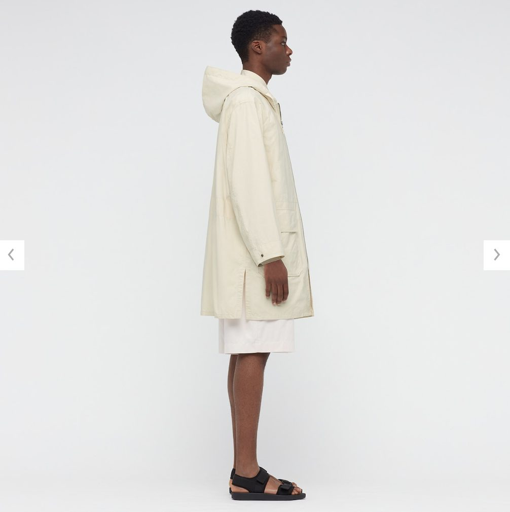 2021年春夏ユニクロUフーデッドコートのモデル3