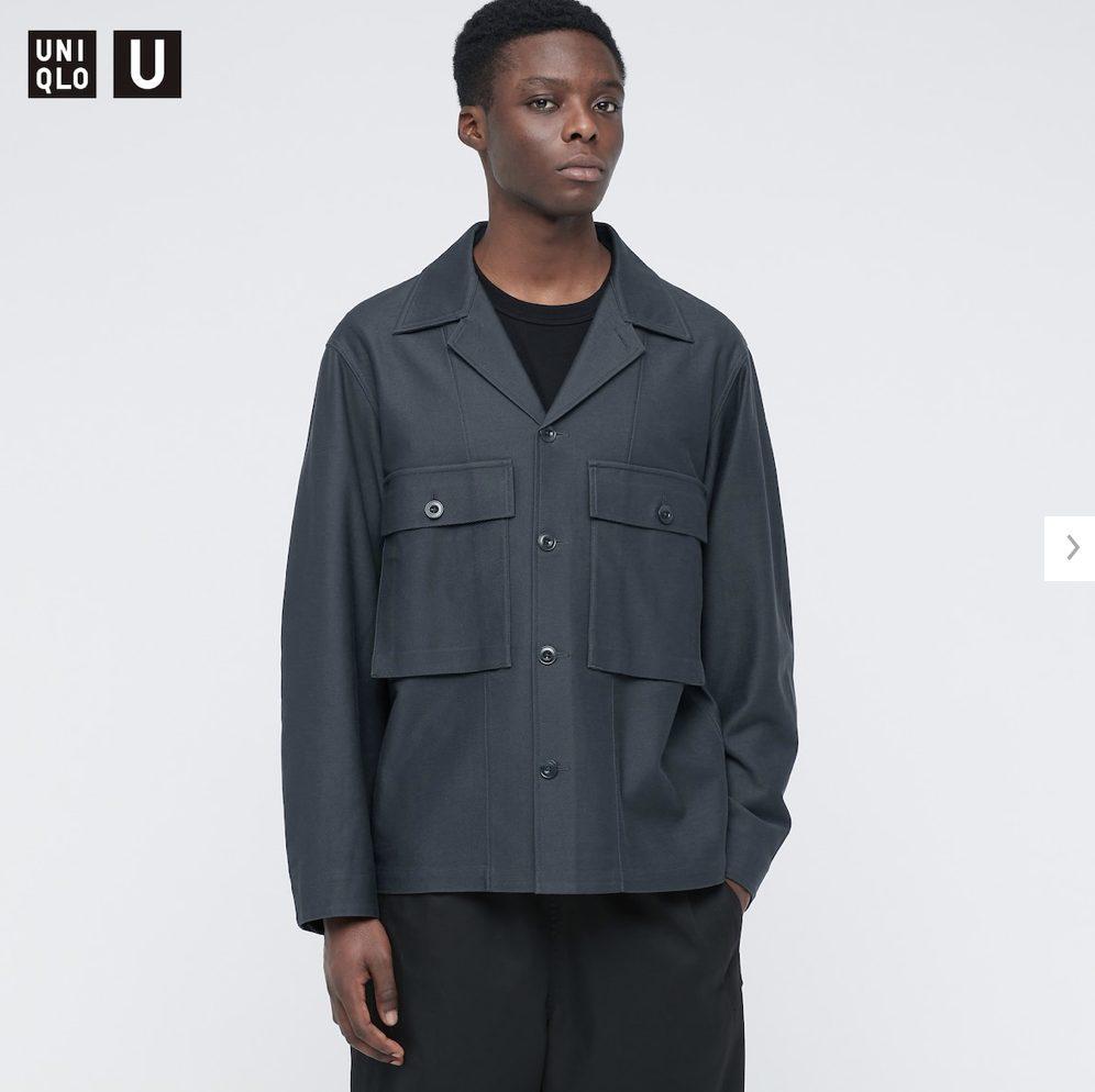 2021年春夏ユニクロUジャージーシャツジャケットのモデル1