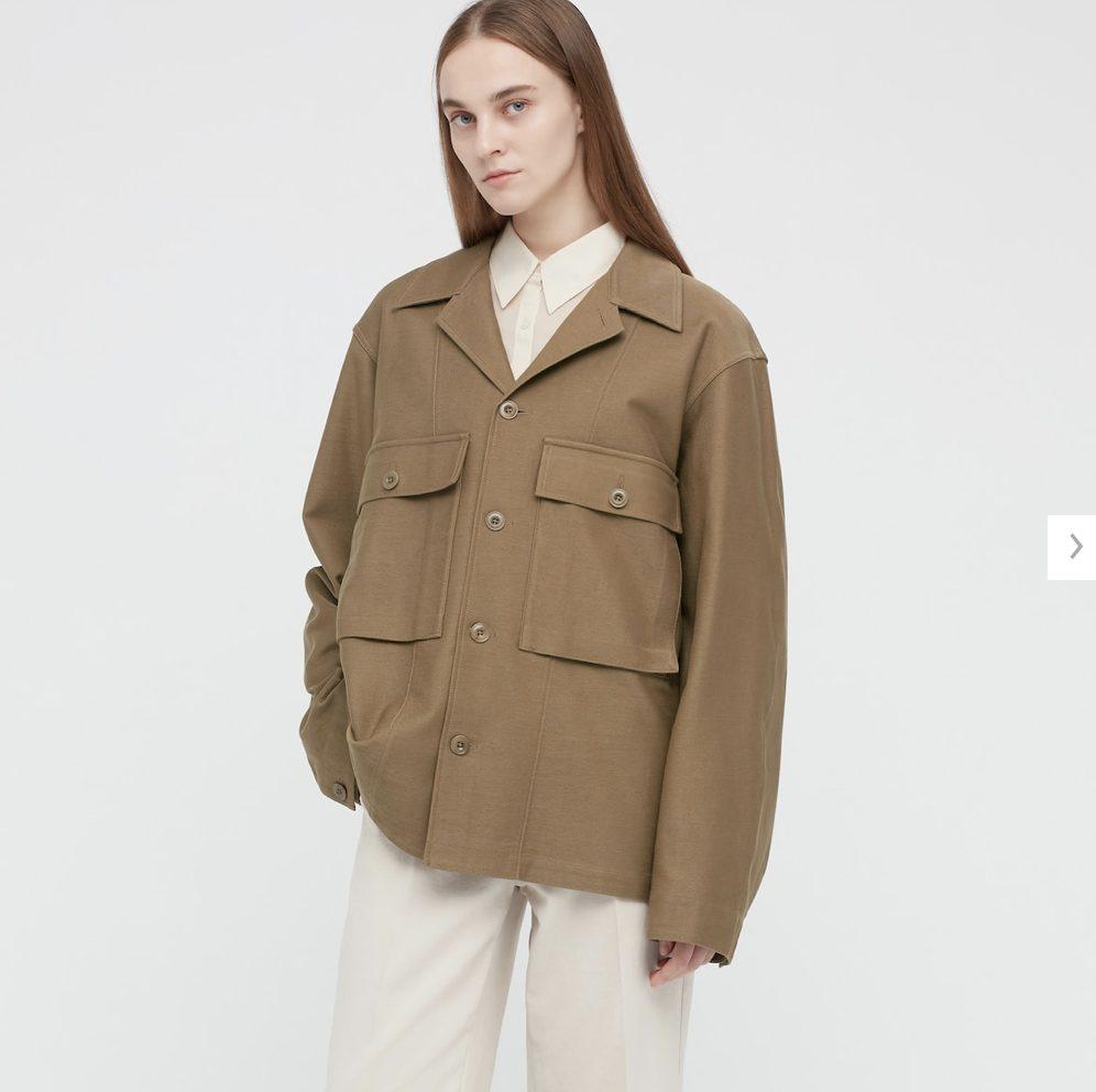 2021年春夏ユニクロUジャージーシャツジャケットのモデル2