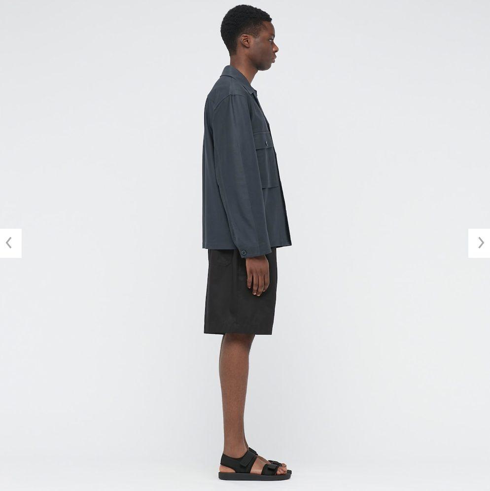 2021年春夏ユニクロUジャージーシャツジャケットのモデル3