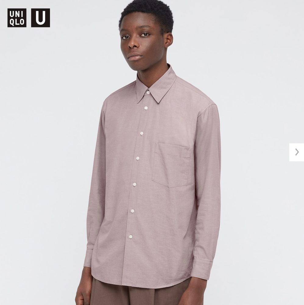2021年春夏ユニクロUレギュラーフィットシャツのモデル1