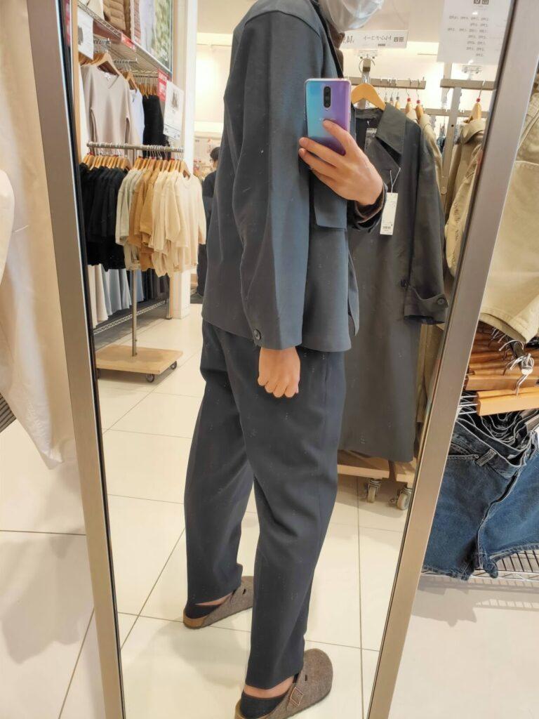 2021年春夏ユニクロUジャージーシャツジャケットのブルーM後ろ