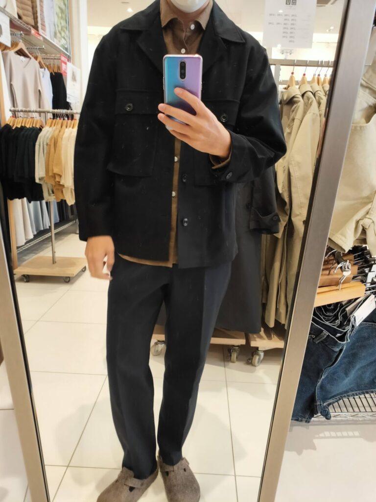 2021年春夏ユニクロUジャージーシャツジャケットのブラックM前