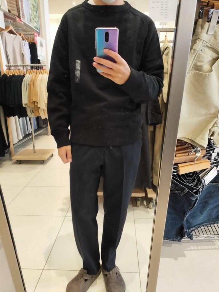 2021年春夏ユニクロUワイドフィットスウェットシャツのブラックL前