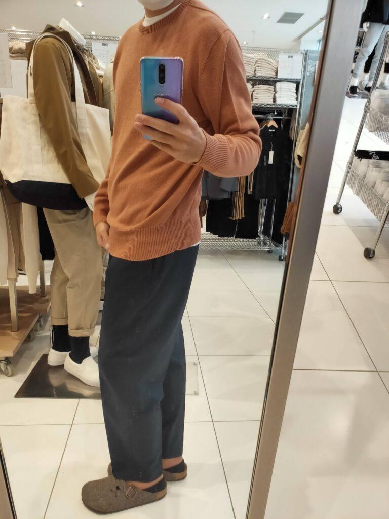 2021年春夏ユニクロU3DクルーネックセーターのオレンジL横