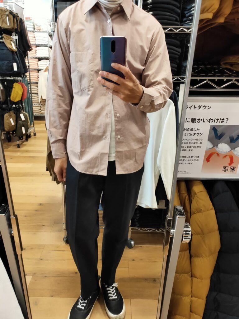 2021年春夏ユニクロUレギュラーフィットシャツのピンクM前