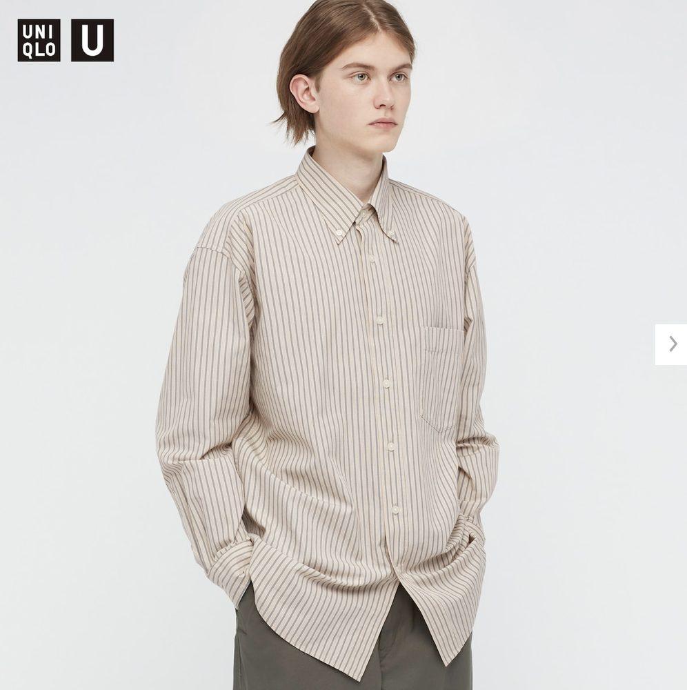 2021年春夏ユニクロUワイドフィットストライプシャツのモデル1