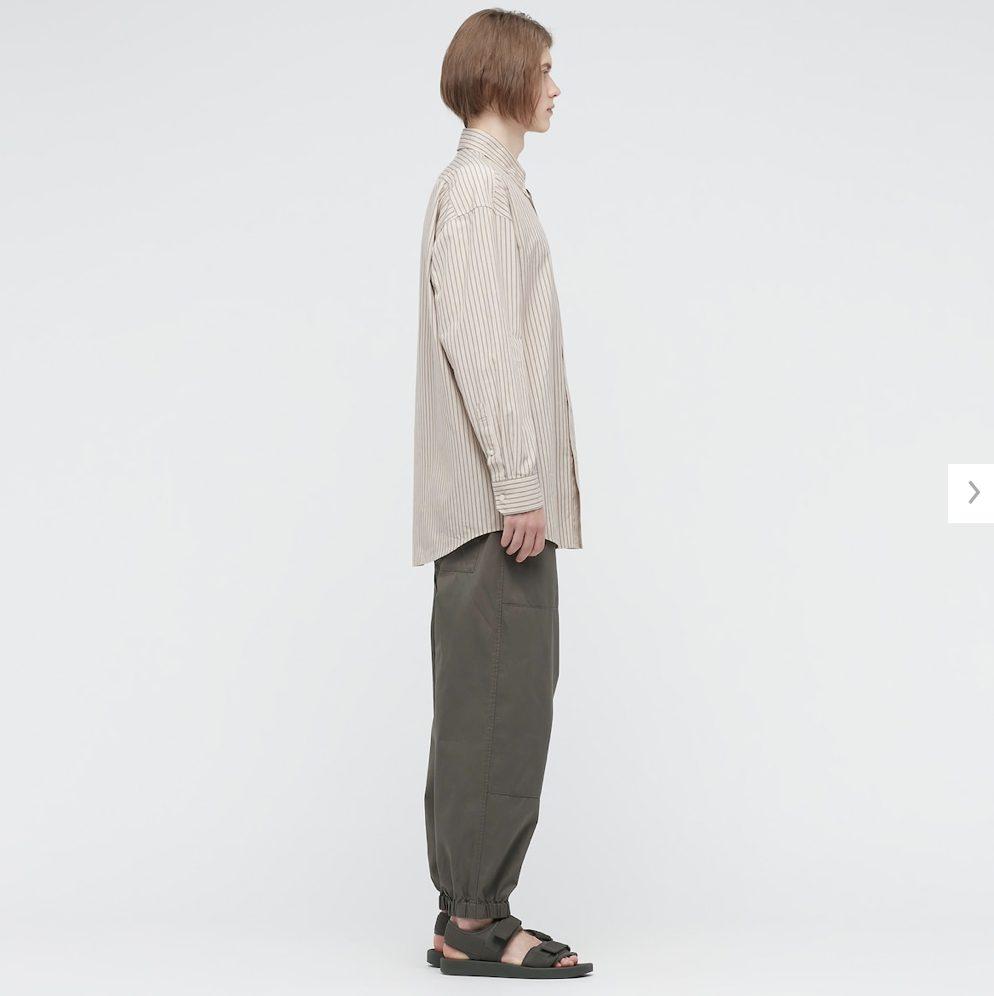 2021年春夏ユニクロUワイドフィットストライプシャツのモデル2