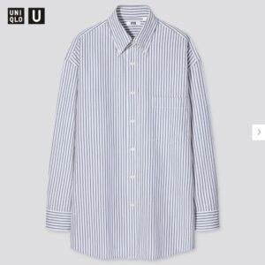 2021年春夏ユニクロUワイドフィットストライプシャツのモデル3