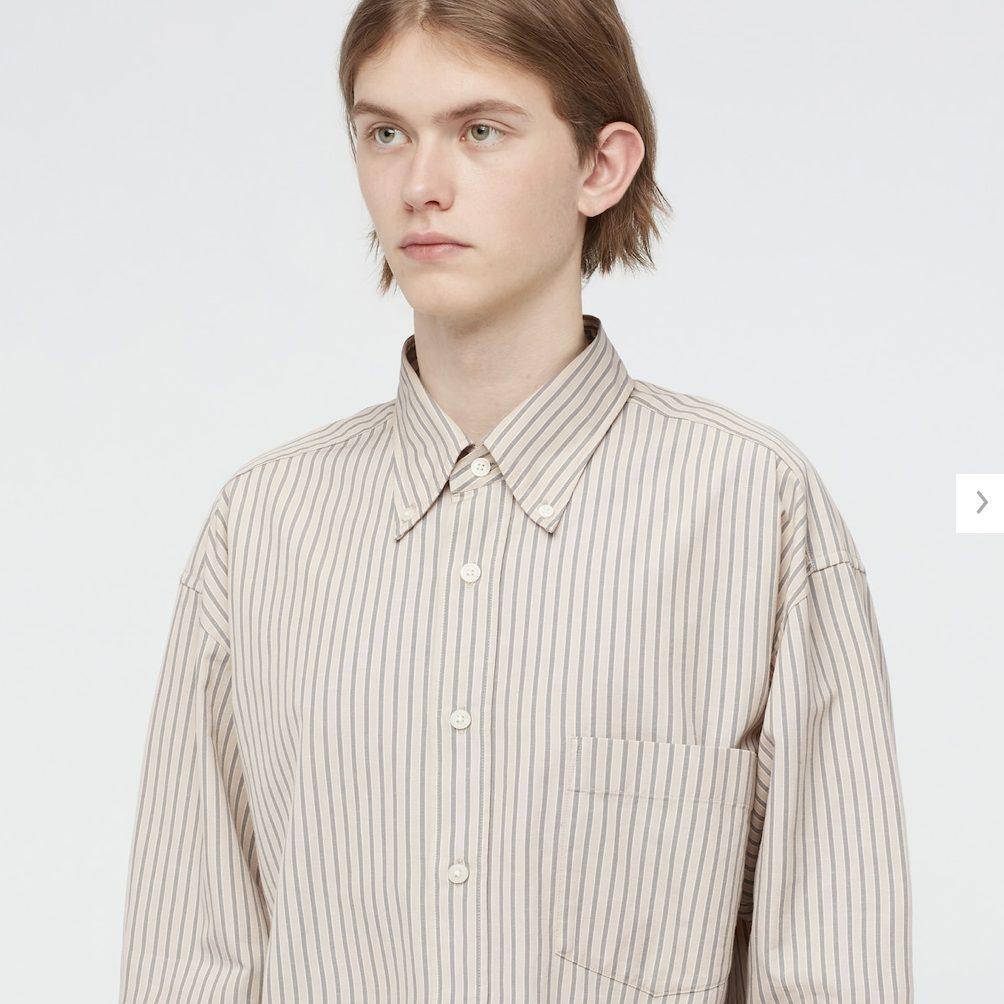 2021年春夏ユニクロUワイドフィットストライプシャツのモデル4
