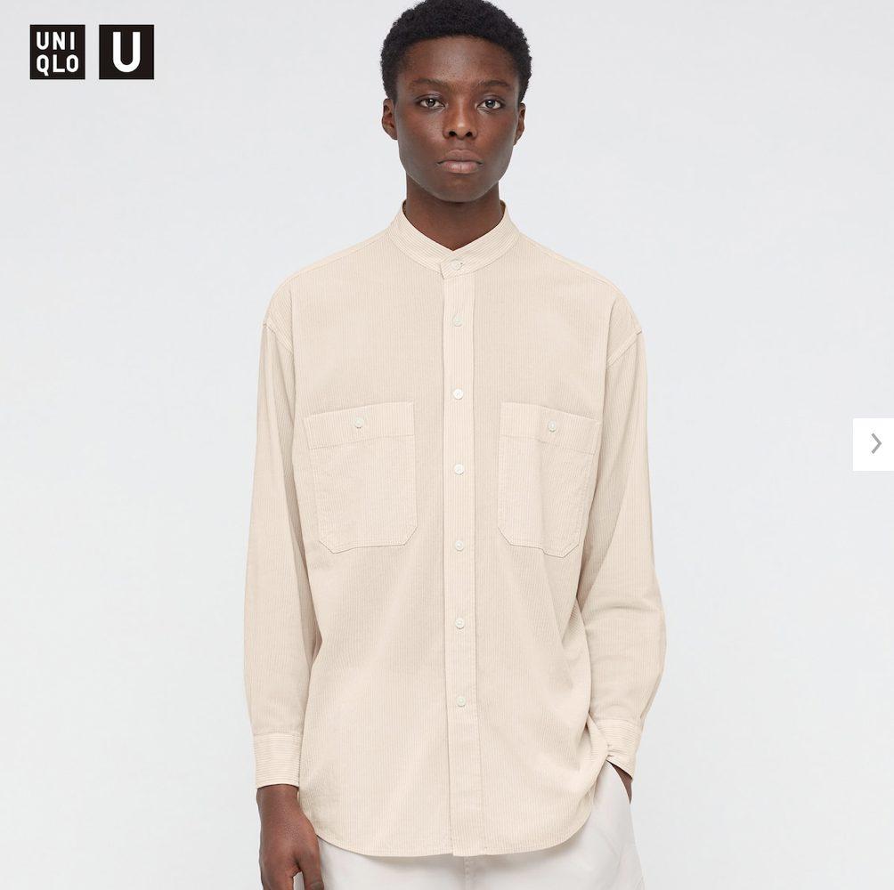 2021年春夏ユニクロUワイドフィットスタンドカラーストライプシャツのモデル1