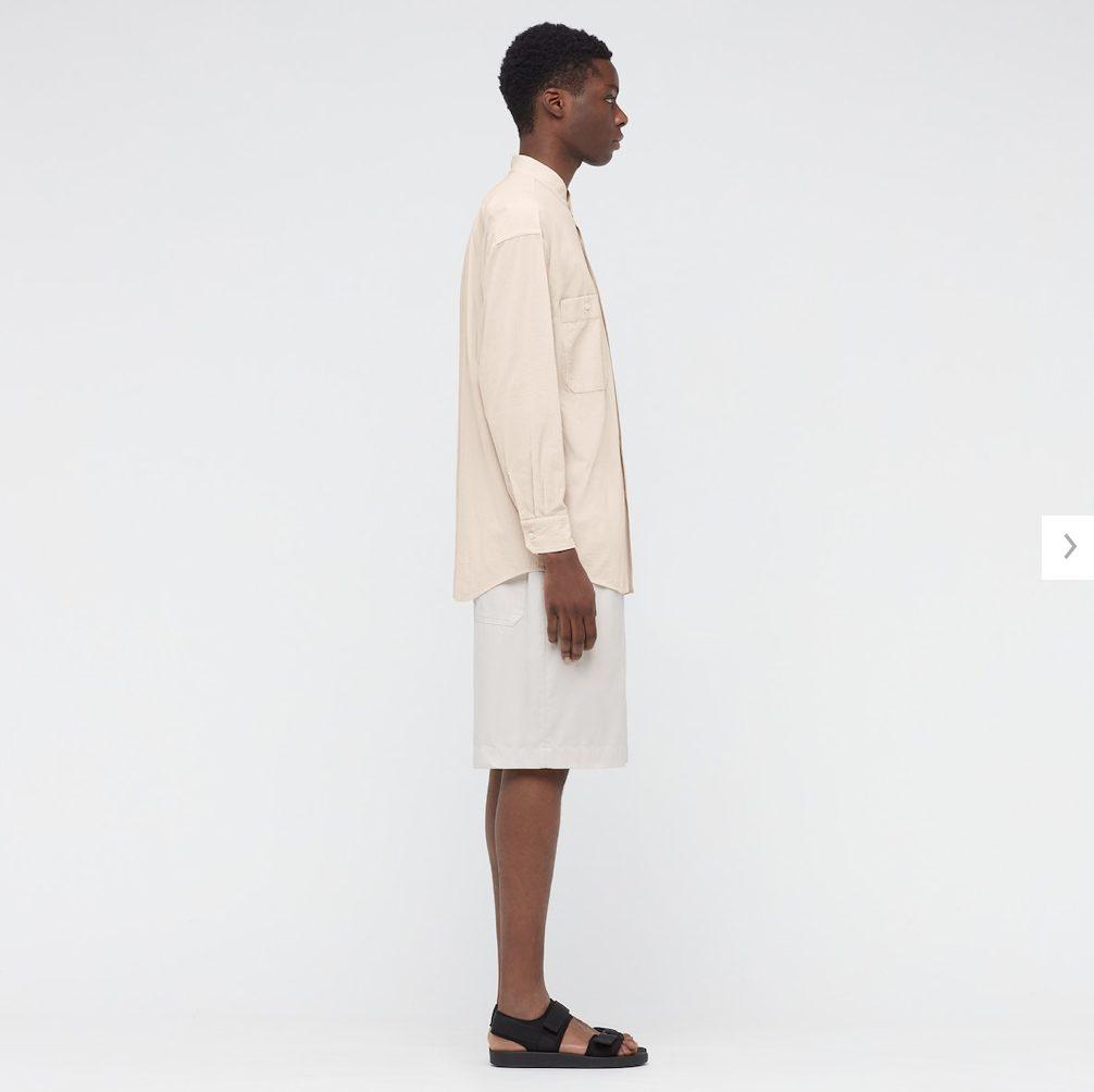 2021年春夏ユニクロUワイドフィットスタンドカラーストライプシャツのモデル3