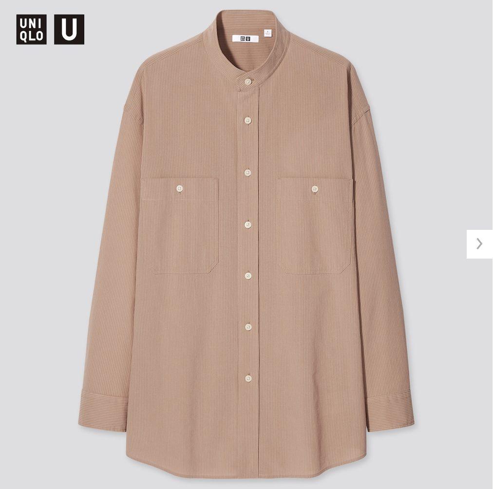 2021年春夏ユニクロUワイドフィットスタンドカラーストライプシャツのモデル4