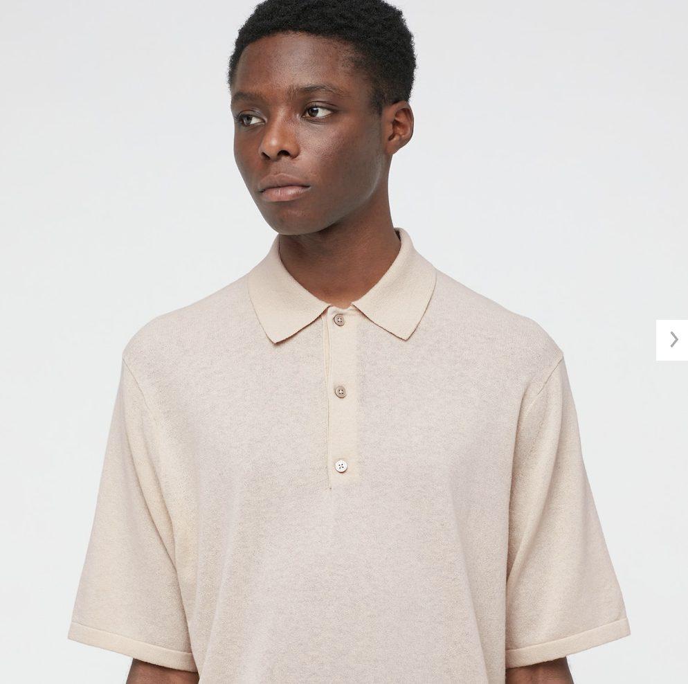 2021年春夏ユニクロUファインゲージポロシャツのモデル1