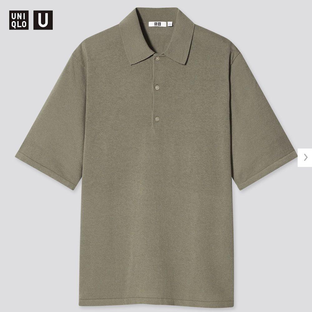 2021年春夏ユニクロUファインゲージポロシャツのモデル5