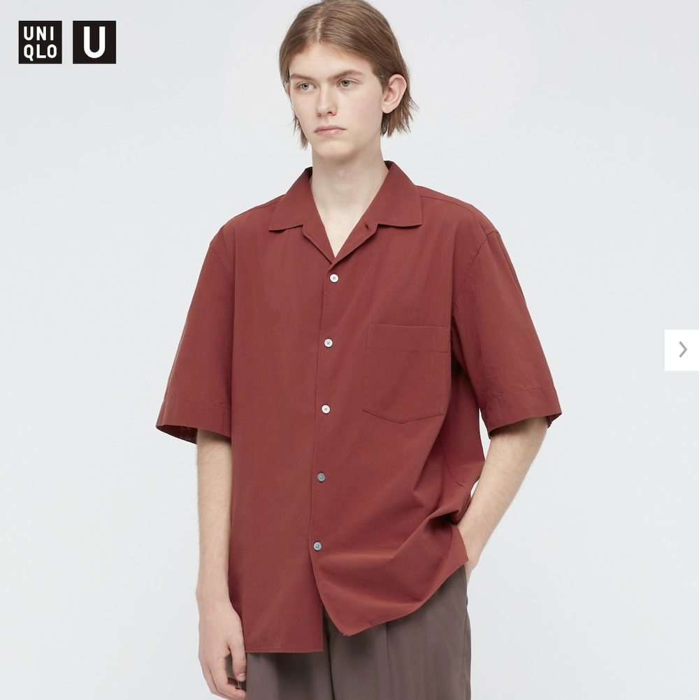 2021年春夏ユニクロUオープンカラーシャツのモデル1