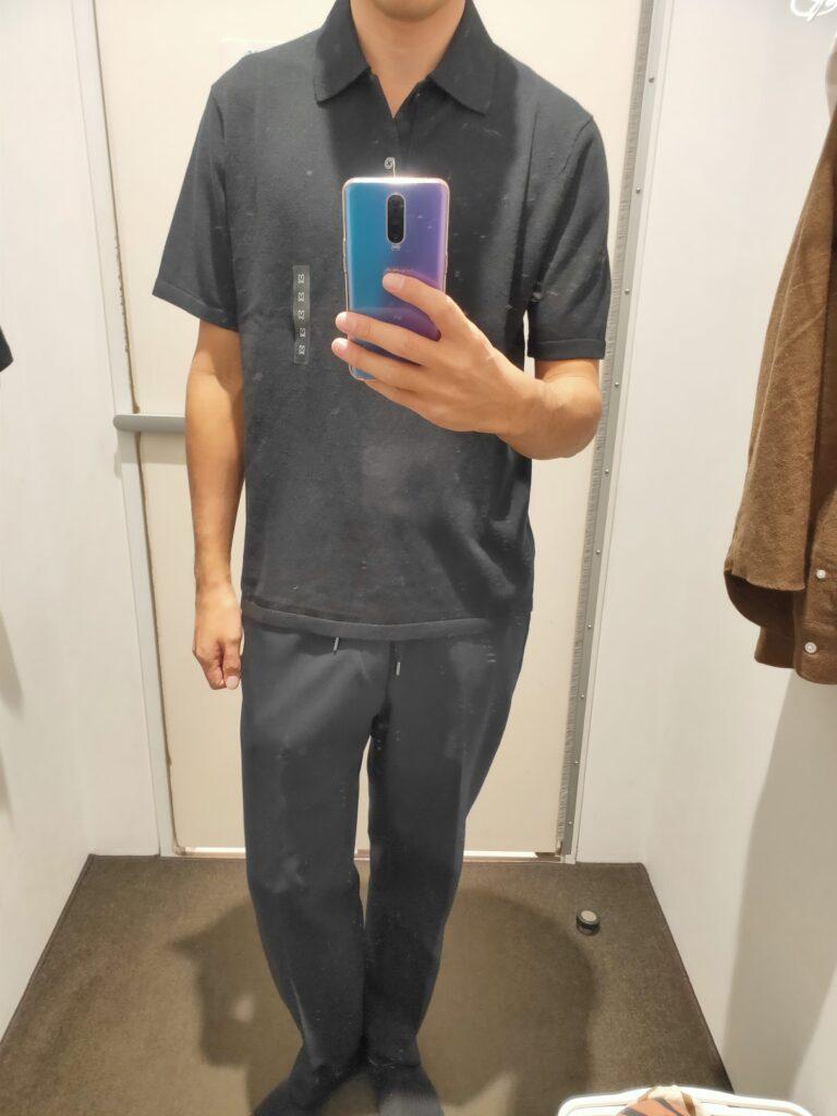 2021年春夏ユニクロUファインゲージポロシャツのブラックM前