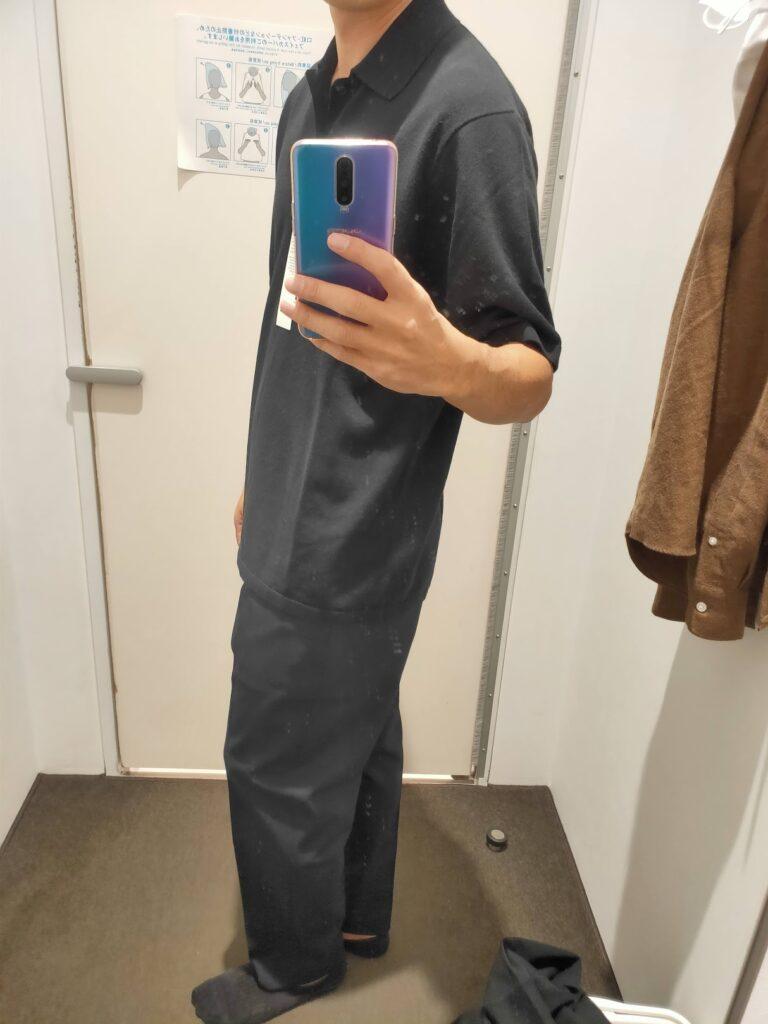 2021年春夏ユニクロUファインゲージポロシャツのブラックL横