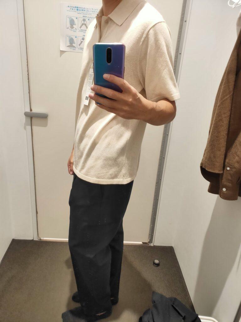 2021年春夏ユニクロUファインゲージポロシャツのナチュラルM横