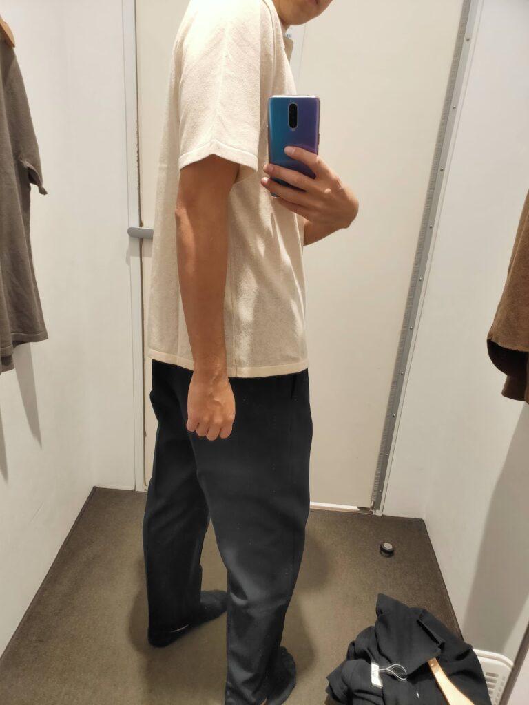 2021年春夏ユニクロUファインゲージポロシャツのナチュラルM後ろ
