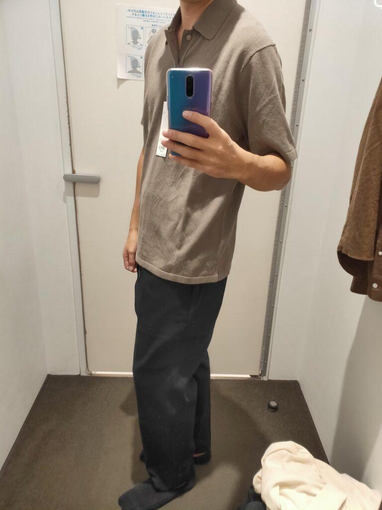 2021年春夏ユニクロUファインゲージポロシャツのオリーブM横