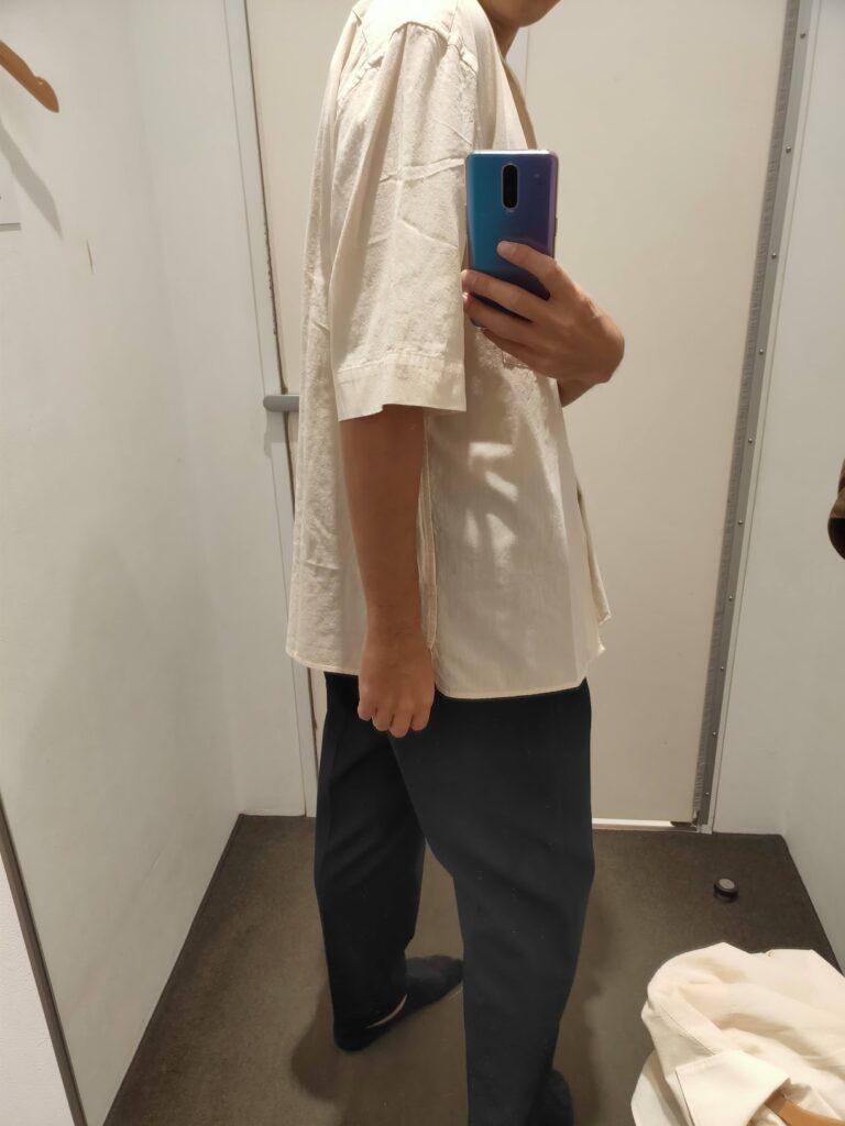 2021年春夏ユニクロUオープンカラーシャツのナチュラルL後ろ