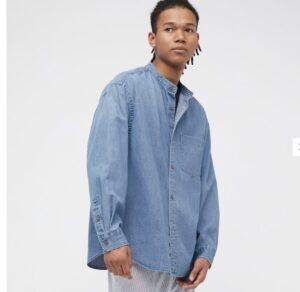 2021awデニムオーバーサイズスタンドカラーシャツのスタイル1