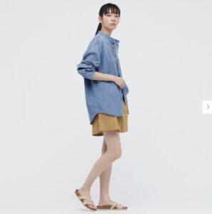 2021awデニムオーバーサイズスタンドカラーシャツのスタイル5