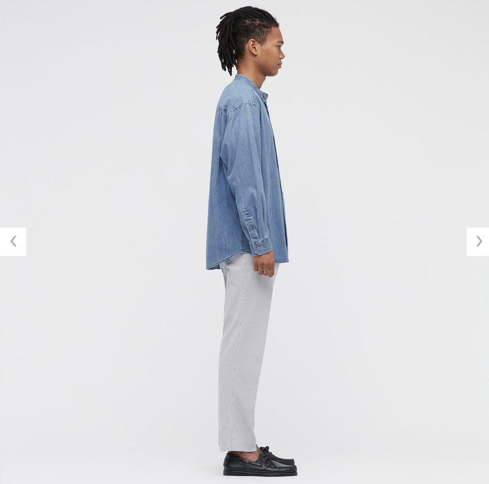 2021awデニムオーバーサイズスタンドカラーシャツのスタイル2