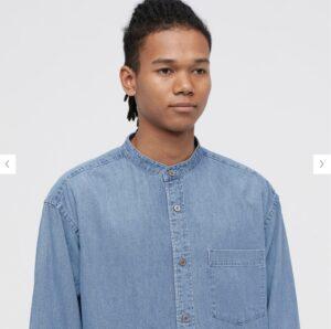 2021awデニムオーバーサイズスタンドカラーシャツのスタイル4