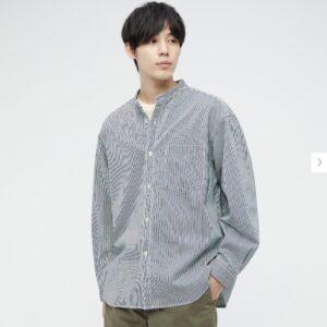 2021awデニムオーバーサイズスタンドカラーシャツのストライプのスタイル1
