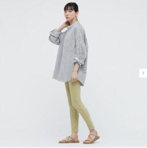 2021awデニムオーバーサイズスタンドカラーシャツのストライプのスタイル2