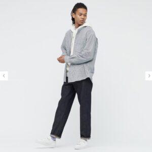 2021awデニムオーバーサイズスタンドカラーシャツのストライプのスタイル3
