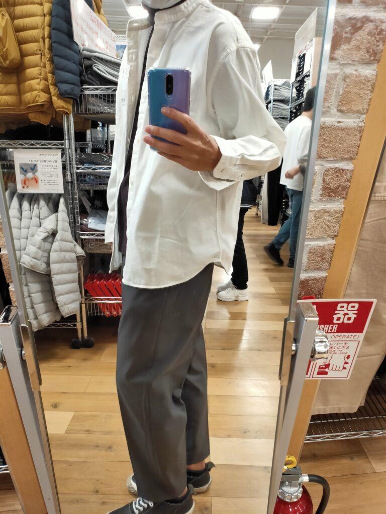 2021awデニムオーバーサイズスタンドカラーシャツのホワイトL横
