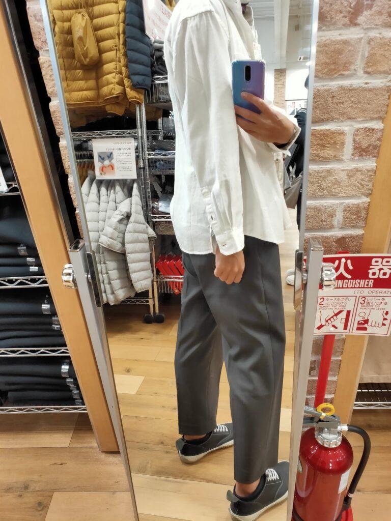 2021awデニムオーバーサイズスタンドカラーシャツのホワイトL後ろ