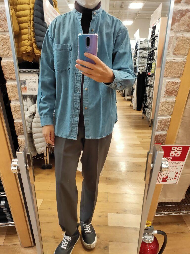 2021awデニムオーバーサイズスタンドカラーシャツのブルーL前