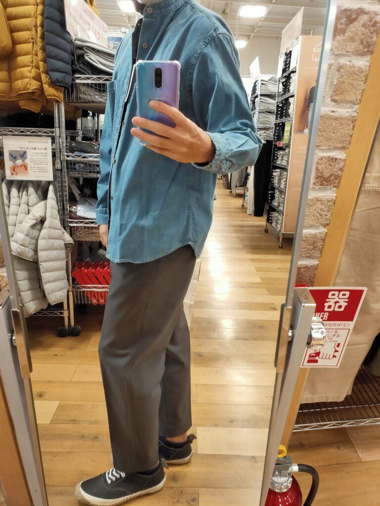 2021awデニムオーバーサイズスタンドカラーシャツのブルーL横