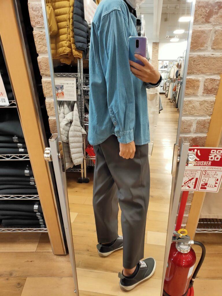 2021awデニムオーバーサイズスタンドカラーシャツのブルーL後ろ