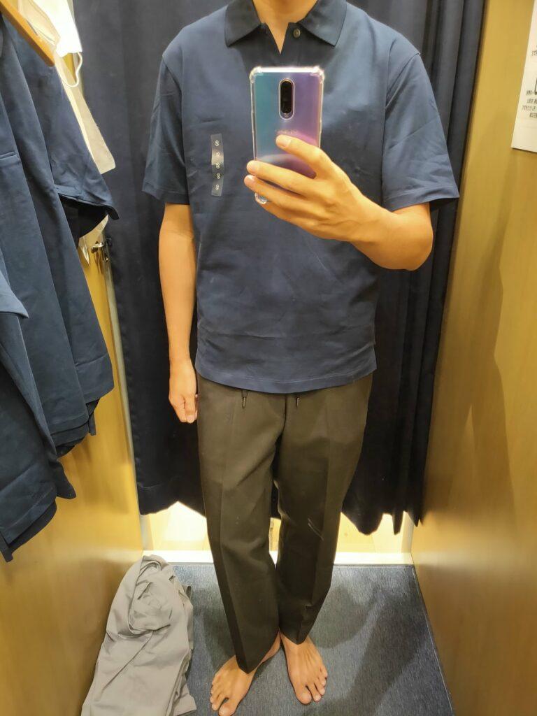 2021ssjリラックスフィットポロシャツのネイビーS前