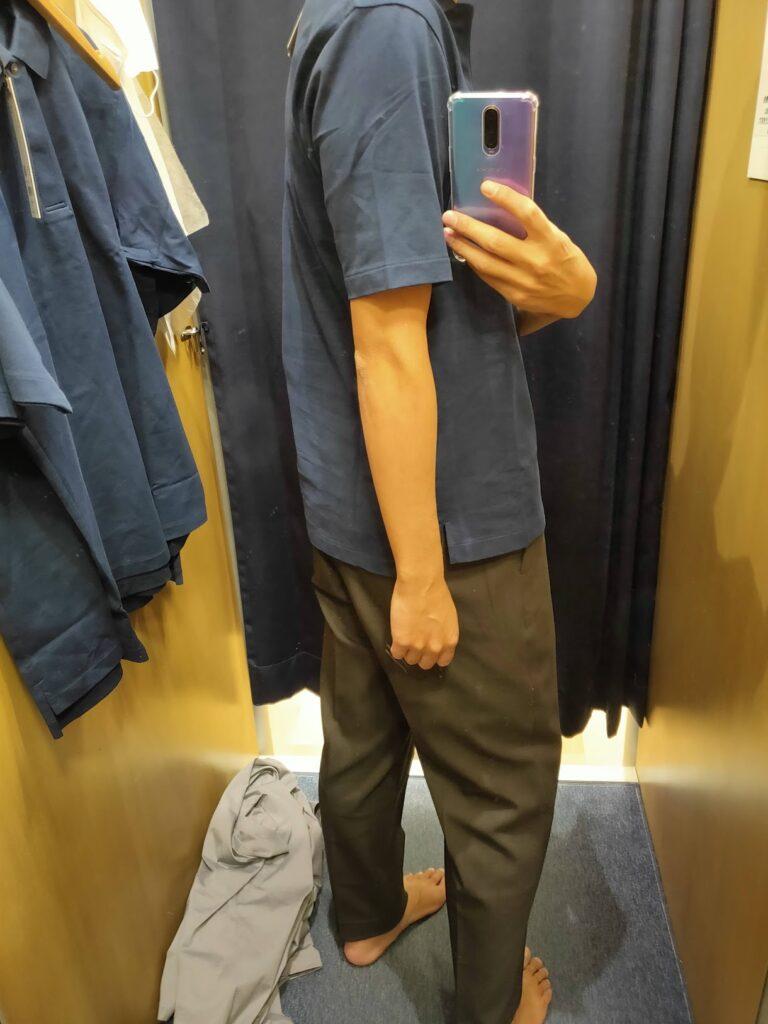 2021ssjリラックスフィットポロシャツのネイビーS後ろ