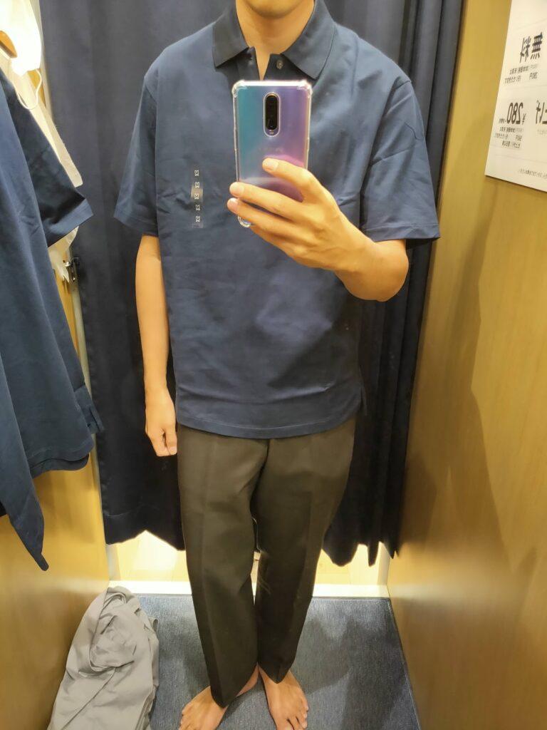 2021ssjリラックスフィットポロシャツのネイビーM前