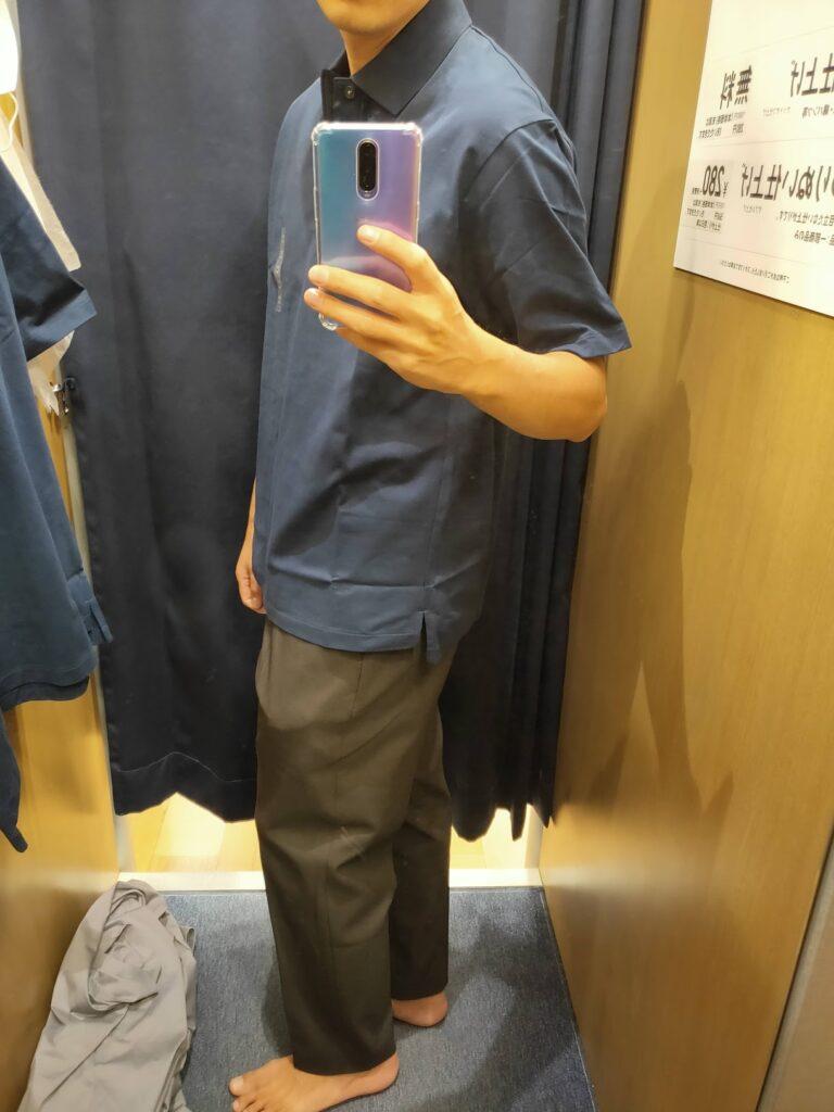 2021ssjリラックスフィットポロシャツのネイビーM横