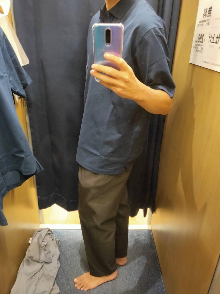 2021ssjリラックスフィットポロシャツのネイビーL横