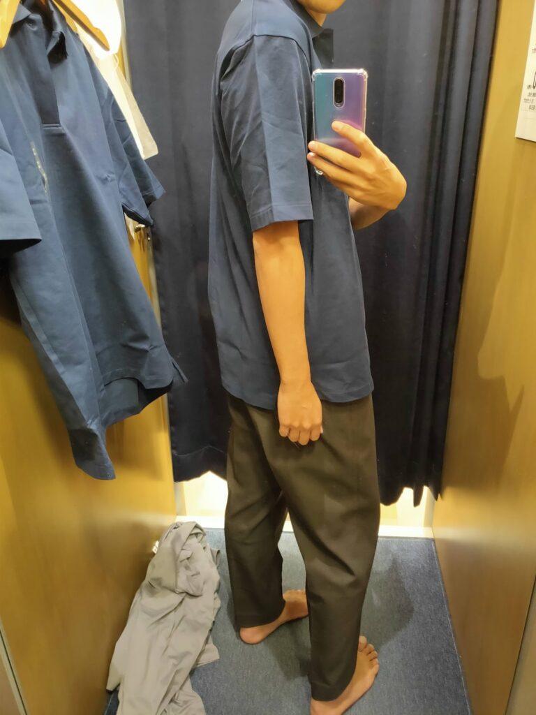 2021ssjリラックスフィットポロシャツのネイビーL後ろ