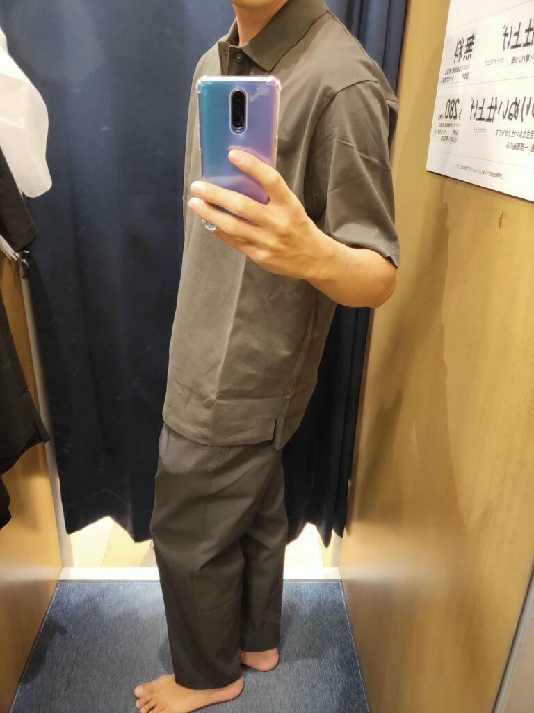 2021ssjリラックスフィットポロシャツのオリーブL横