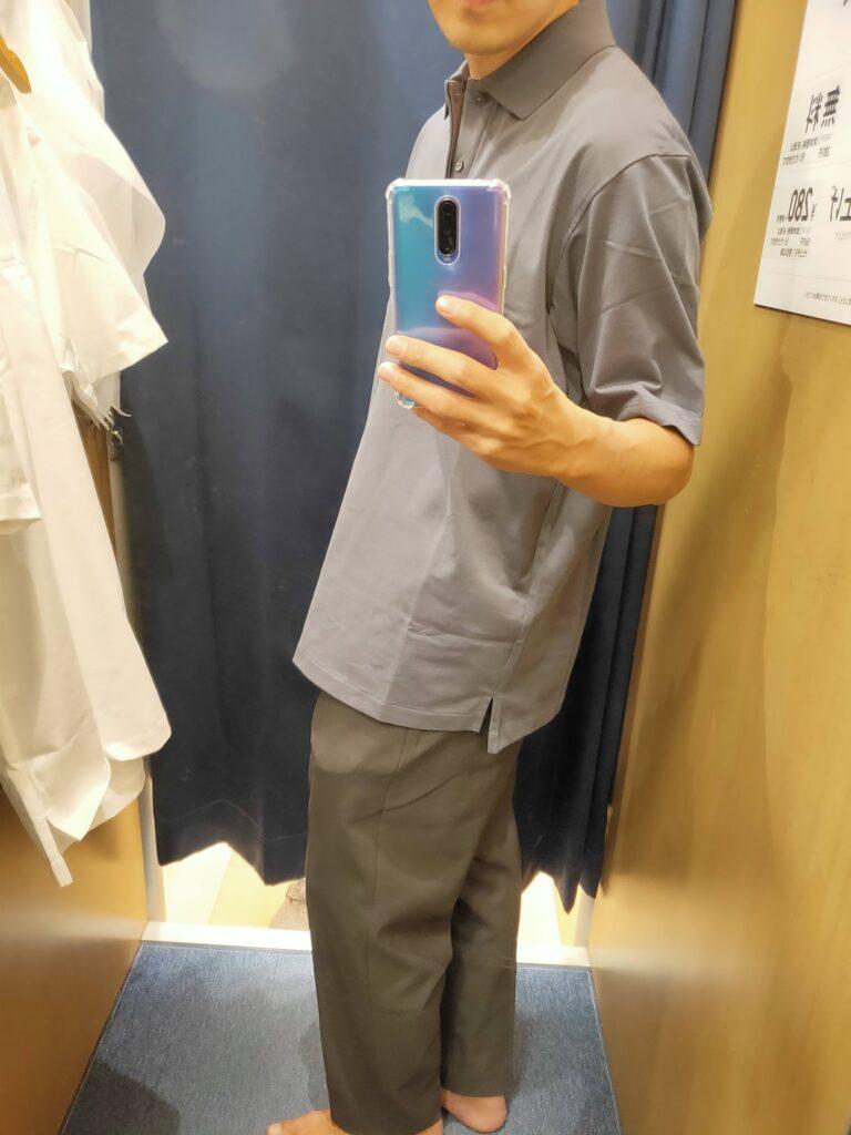 2021ssjリラックスフィットポロシャツのダークグレーL横